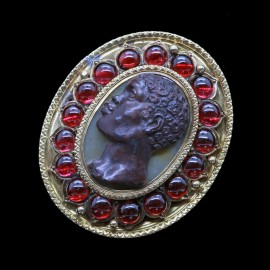Antique Victorian Blackamoor Brooch Pendant Cameo 18k Gold Garnets (6669)