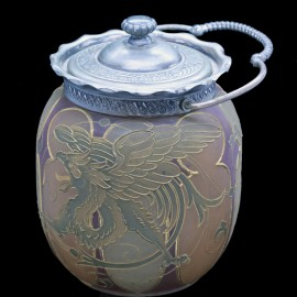 Mt Washington Royal Flemish Glass Biscuit Jar Mythologica Griffin Dolphin (4823)