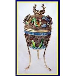 Chinese Silver & Enamel Ting 3-legged Cup w Lid c1940s (4619)