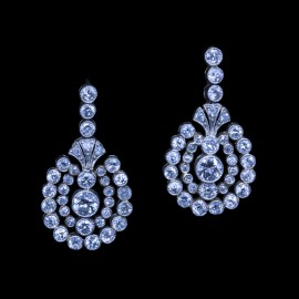 Antique Edwardian Earrings Platinum Diamonds Gold  (6685)