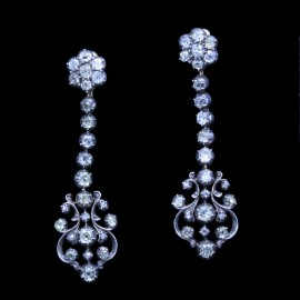 Antique Georgian Victorian Earrings Diamonds Gold Silver Long Ear Pendants (6686)