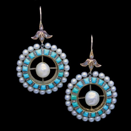 Antique Victorian Earrings Gold Turquoise Pearls Diamonds Big Pendant (6690)