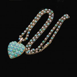 Antique Victorian Necklace Pendant 15k Gold Turquoise Diamond Pearl Heart(6110)