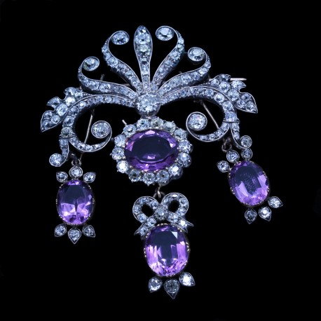Georgian Brooch Stomacher Diamond Amethyst Gold Detachable Pendant Earrings(6755)