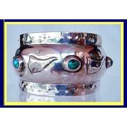 Liberty & Co Napkin Ring. St Silver Turquoise Gems 1904 (4740)