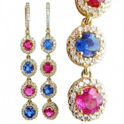 Earrings Long Ear Pendants Burmese Rubies Sapphires Diamonds 18k Gold (4764)