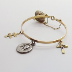 Vintage Bracelet 18k Gold Silver Cross Charms Mother Mary Christian (ID:6006)