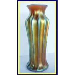 Antique LCT Favrile Art Glass Ribbed Vase circa 1900 (4900)