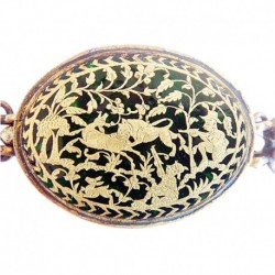 Antique 22k Gold Indian Armband Pendant Thewa Work Deer Hunt Dog (4913)