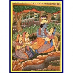 Handpainted Indian Miniature Painting Krishna & Cowgirls Gopis Not Old (4937)