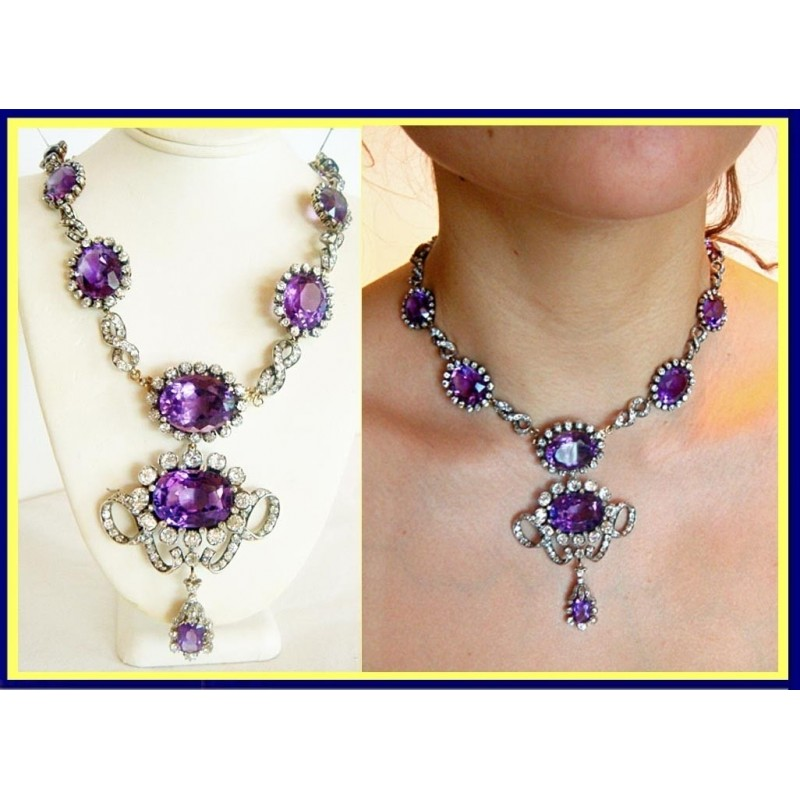 Victorian Necklace 90carat Amethyst 17 25ct Diamond Museum
