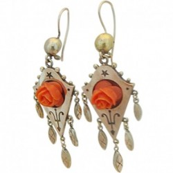 Antique Victorian Earrings Gold Drops Dangles Carved Coral Roses (ID:5025)