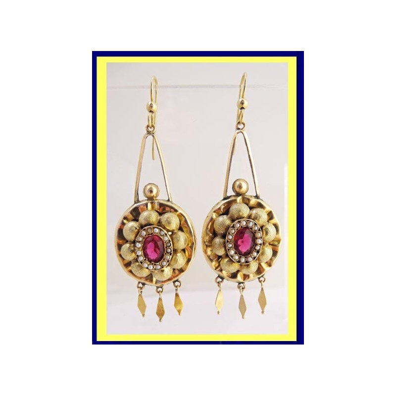 Antique Victorian Earrings 14k Gold Seed Pearls Paste