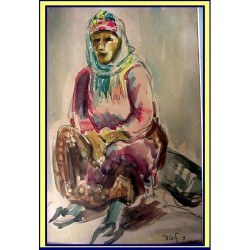 Judaica Arab Moslem Vintage Orientalist Painting Watercolor Arab woman Signd D Gilboa Bedouin (1850)