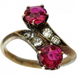 Antique Victorian Ring Ruby Diamond Crossover set in 18K Gold (ID:5257)