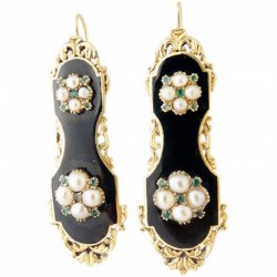 Antique French Earrings Charles X Victorian Gold Pearls Emeralds (ID:5336)