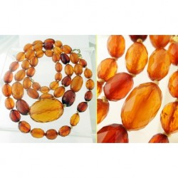 Antique Victorian Amber Necklace Genuine Faceted Amber Beads Transluscent (ID:5392)