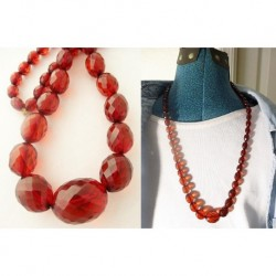 Antique Victorian Amber Necklace Genuine Faceted Amber Beads Light Cherry (ID:5393)