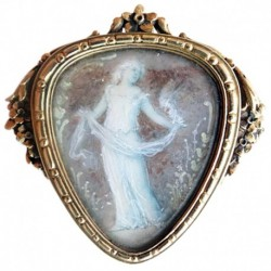 Antique Art Nouveau Boucheron Brooch Gold Miniature Plaque Dancer Paris (ID:5400)