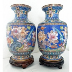 "Antique Chinese Cloisonne Enamel Pair Vases on Stands 17"" (ID:5410)"