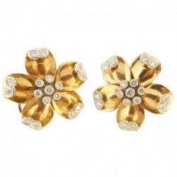 Antique Vintage Retro Earrings Ear Clips Flowers of Gold & Diamonds c1940 (ID:5494)