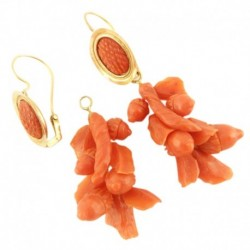 Antique Victorian Earrings Ear Pendants Carved Coral Gold Acorn Day Night (ID:5600)