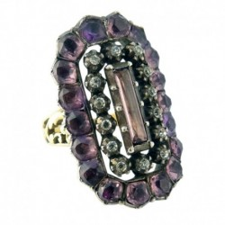 Antique Georgian Ring 18k Gold Silver Foiled Paste French 18C-Early 19C (ID:5627)