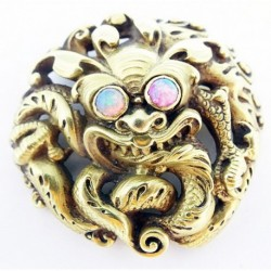Wiese Antique French Victorian Gold Opal Brooch Chinese Dragon (ID:5808)