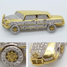 Vintage Brooch Mercedes Benz 18k Gold 4.50ct Diamonds Vintage Mercedes (6067)