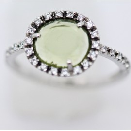 Pomellato Colpo di Fulmine 18k White Gold Peridot Diamond Ring Papers Box (5950)