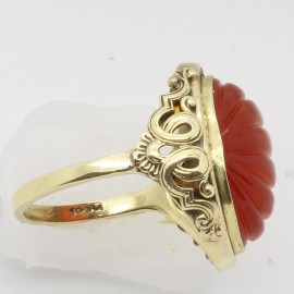 Vintage Antique Art Deco - Retro Chinese Ring 14k Gold Carnelian (6144)