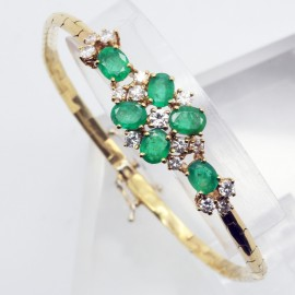 Retro Bracelet 18k Gold Diamonds Emeralds (4847)