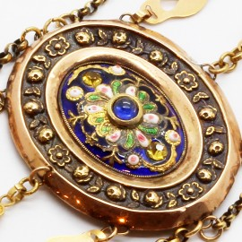 Antique Necklace Normandy France En Esclavage 18k Gold Enamel Paste (ID:5140)