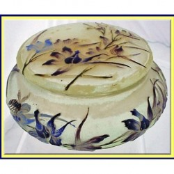 SIGNED GALLE ENAMEL ART GLASS BOX BEE & FLOWE (ID:3149)