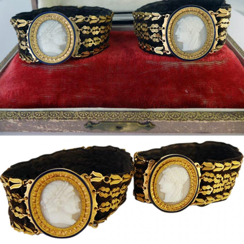 Antique Georgian Pair Bracelets Hardstone Cameo Napoleon