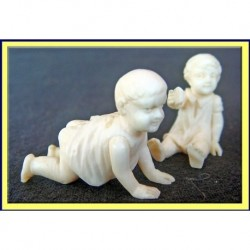 ART DECO F PREISS CARVED FIGURINES CHILDREN (ID:4296)