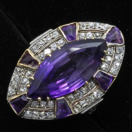 Vintage Ring Retro Diamonds Amethyst 14k White & Yellow Gold (6171)