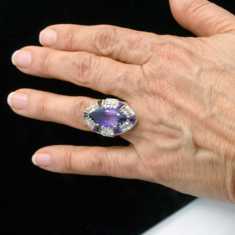 Vintage Ring Retro Diamonds Amethyst 14k White Yellow Gold