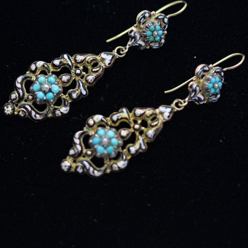 Antique Georgian French Earrings Necklace Gold Turquoise