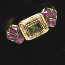 Antique Renaissance Ring Early XVI Century Ruby Chrysoberyl 18k Gold (6235)