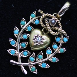 Antique Victorian Pendant 15k Gold Turquoise Diamond Heart Pearl Knot (6035)
