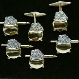 Gentleman's Retro Cufflinks Buttons Man's Set Pot of Diamonds Gold   (4787)