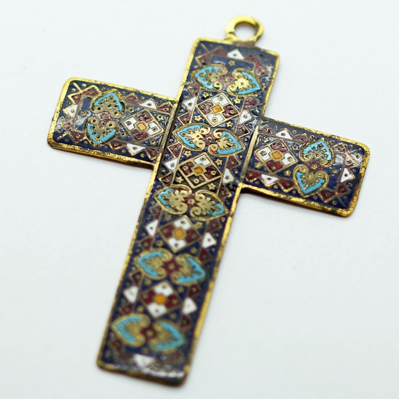 Antique Renaissance Cross Pendant Cloisonne Enamel In