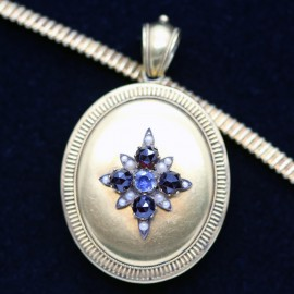 Antique Victorian Necklace Pendant Locket Gold Garnet Sapphire Pearl (ID:5699)