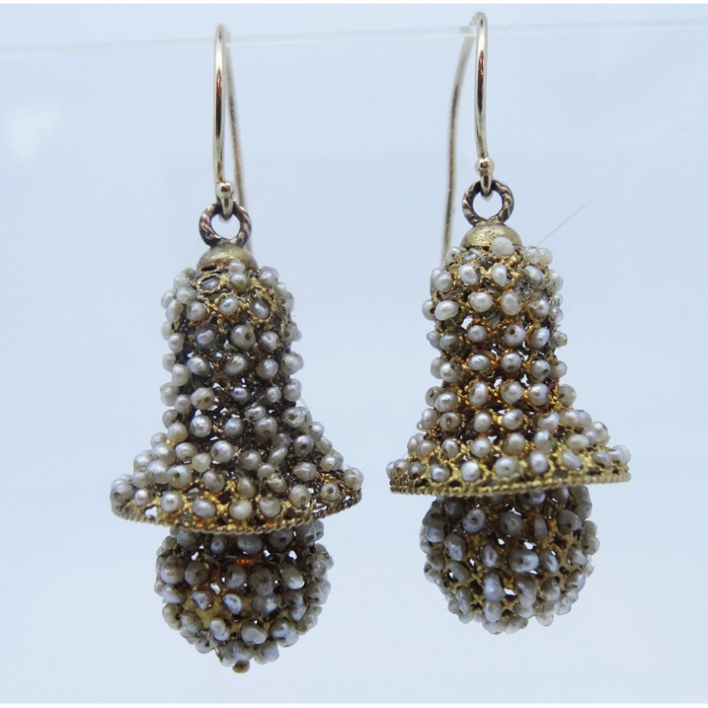 drop antique french diamond earrings