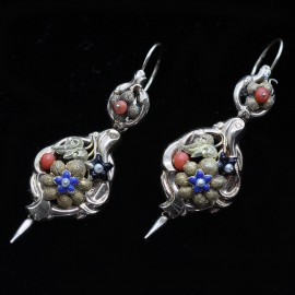 Antique Victorian Day Night Earrings 14k Gold Enamel Coral Pearls (ID:5463)