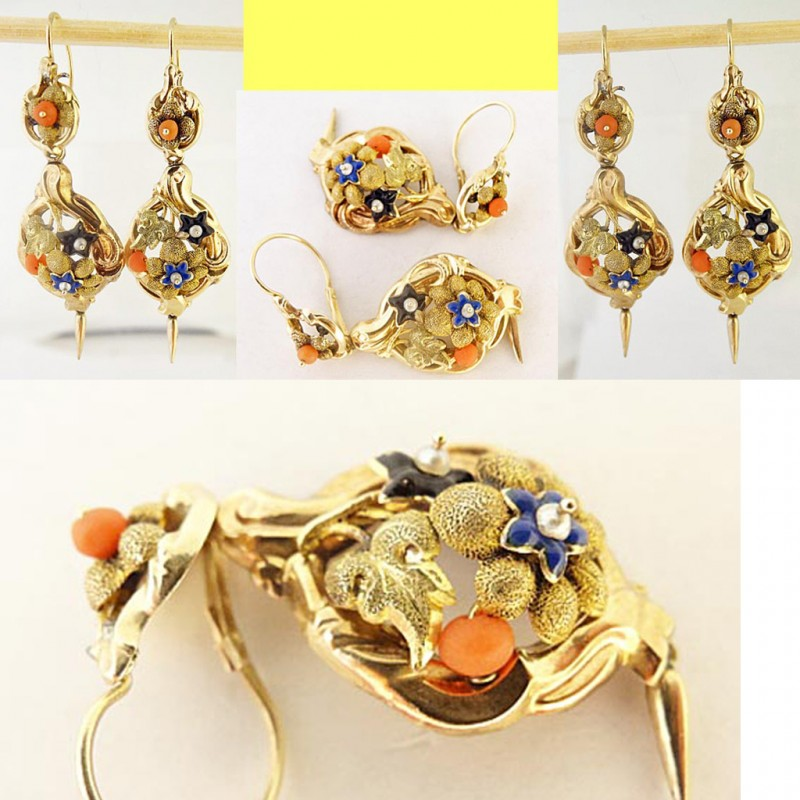 Antique Victorian Day Night Earrings 14k Gold Enamel Coral