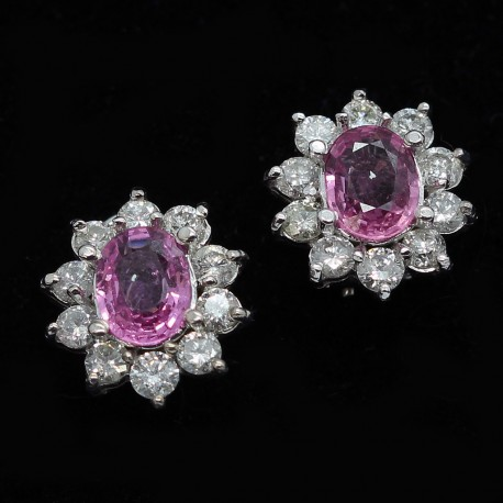 Vintage Retro Earrings Pink Shires Diamonds White Gold 1940 50 S