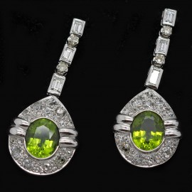 Vintage Pendant Earrings Platinum Peridot Diamond Ear Pendants (ID:5776)