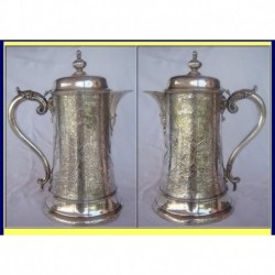 WINE JUG FLAGON 1850 STERLING SILVER R HENNEL (ID:1284)